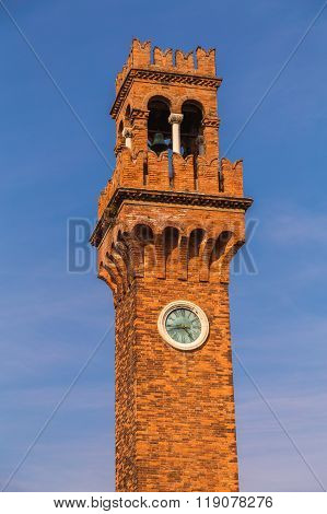 Bell And Clock Tower In Murano