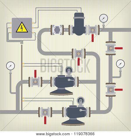 Infographic scheme with liquid, water tank. Vector