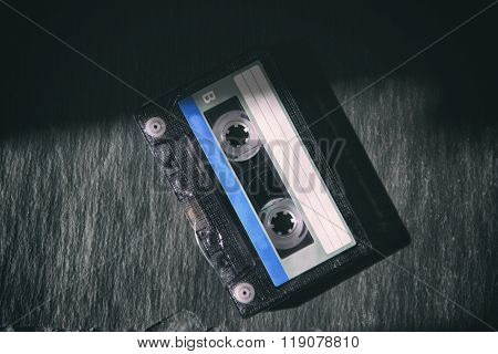 Audiocassette On A Black Background
