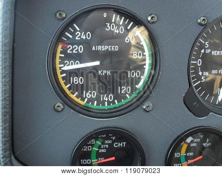 Piloting Navigation In Airplane - Attitude Direction Indicator. Attitude Indicator - Control Panel I
