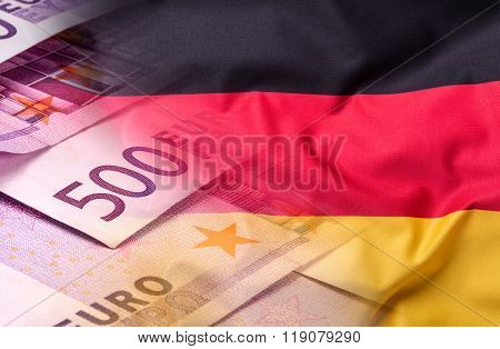 Flags of the Germany and the European Union. Germany Flag and EU Flag. World flag money concept