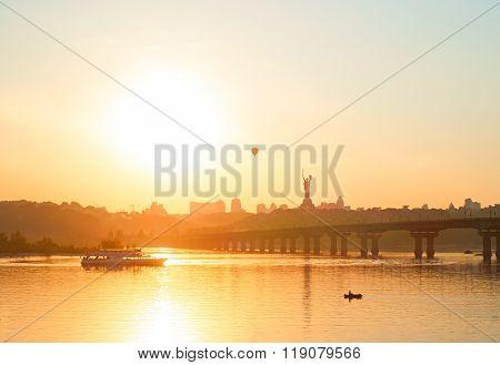 Cityscape Of Kiev At Sunset, Ukraine