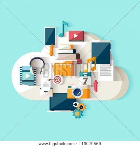 Cloud data storage. Flat design.