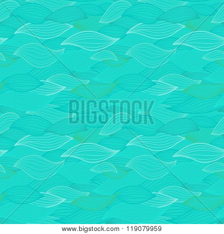 Sea Waves Illustration. Wallpaper Seamless Textile Surface Patte