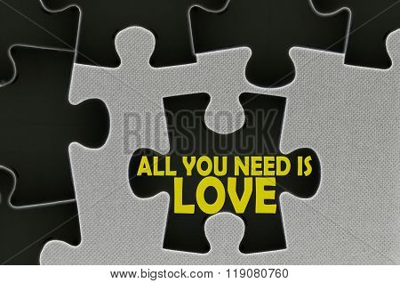 Jigsaw Puzzle Written Word All You Need Is Love