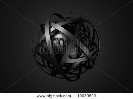 Abstract 3D Rendering of Sphere with Rings.