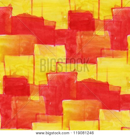 art purple red yellow square ornament seamless watercolor handmade abstract