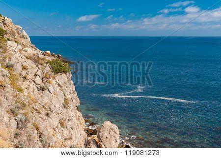 Black sea shore at spring season Crimean peninsula