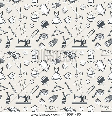 seamless pattern with various sewing and needlework equipment