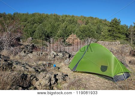 pinewood and green tent on glade of Etna National Park, Sicily