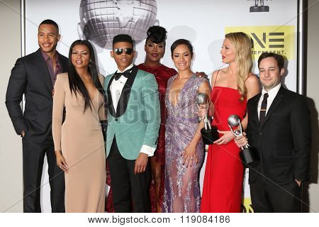 LOS ANGELES - FEB 5:  Trai Byers, Taraji P. Henson, Yazz, Ta'Rhonda Jones, Grace Gealey, Kaitlin Doubleday, Danny Strong - 47TH NAACP Image Awards Press Room on February 5, 2016 in Pasadena, CA