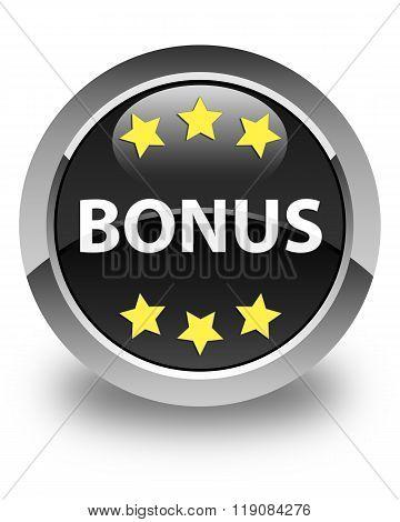 Bonus (stars) Icon Glossy Black Round Button