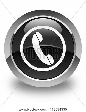 Phone Icon Glossy Black Round Button
