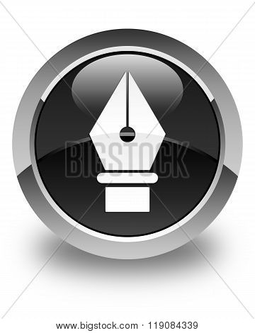 Pen Icon Glossy Black Round Button