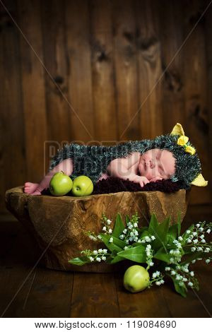 Funny Newborn Little Baby Girl In A Costume Of Hedgehog Sleeping Sweetly On The Stump