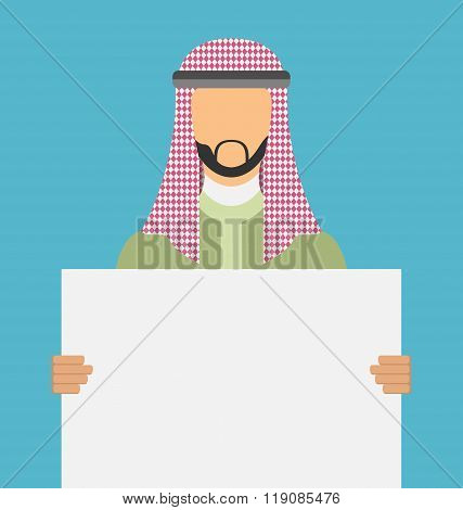 Arab saudi promoter man holding a blank horizontal sign isolated on a white background