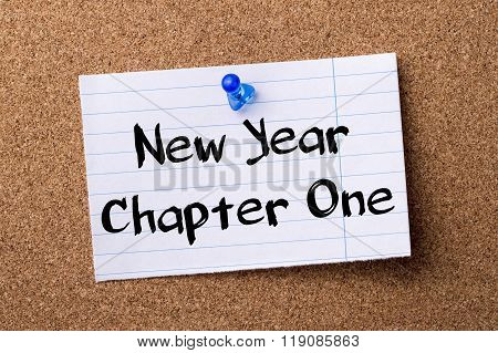 New Year Chapter One - Teared Note Paper Pinned On Bulletin Board