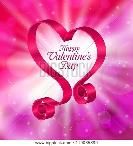 Looping Pink Ribbon in Form Heart for Happy Valentines Day