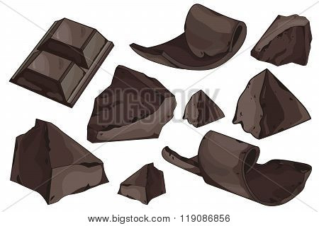 Chocolate shavings set on white background