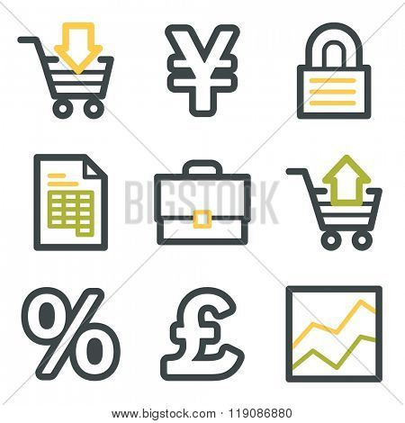 Business web icons, finance and money, business symbols, investment and chart, vector stock signs
