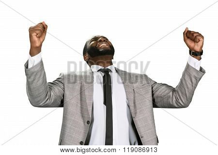 Black man celebrating sucess.