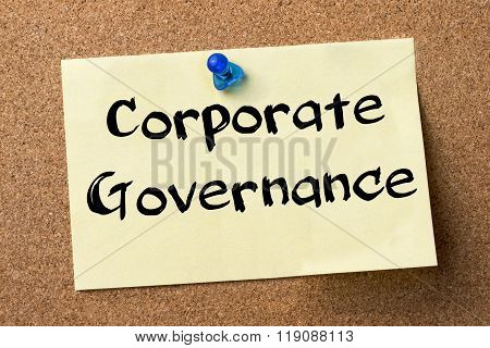 Corporate Governance - Adhesive Label Pinned On Bulletin Board