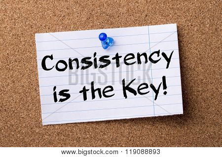 Consistency Is The Key! - Teared Note Paper Pinned On Bulletin Board