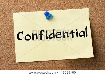 Confidential  - Adhesive Label Pinned On Bulletin Board