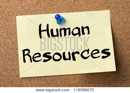 Human Resources - Adhesive Label Pinned On Bulletin Board