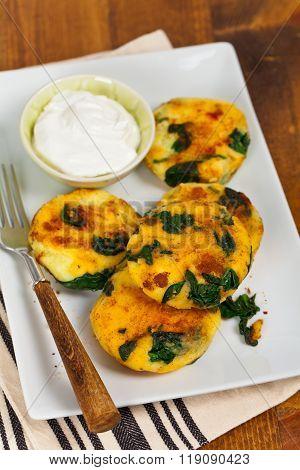 Mashed potato spinach patties