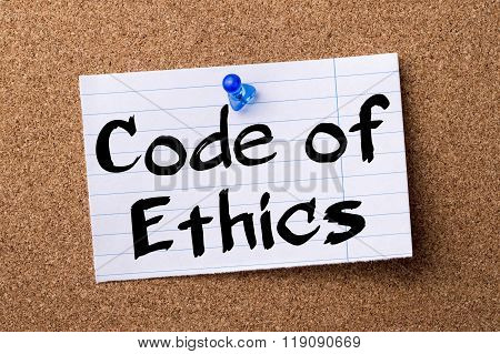 Code Of Ethics - Teared Note Paper Pinned On Bulletin Board