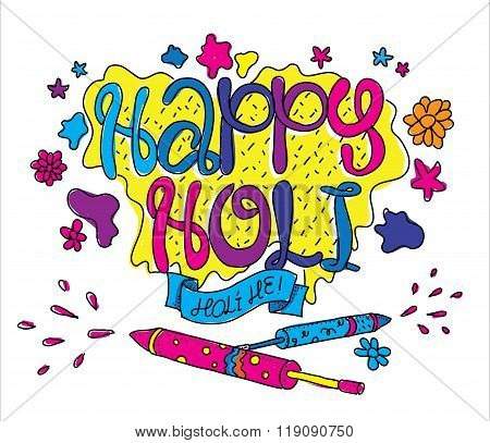 Holi festival greeting card. Hand drawn illustartion.