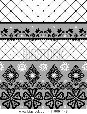 Black Seamless Lace Pattern With Fishnet