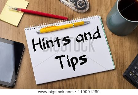 Hints And Tips - Note Pad With Text