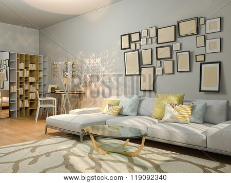 3D Visualization Of Interior Design Living In A Studio Apartment.