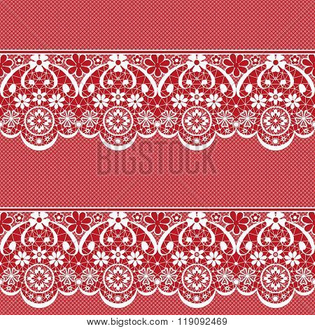 White Seamless Lace Pattern On Red Background