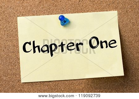 Chapter One - Adhesive Label Pinned On Bulletin Board