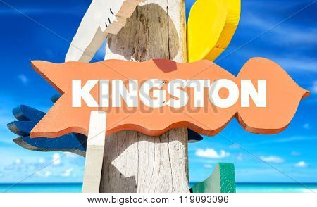 Kingston welcome sign with beach