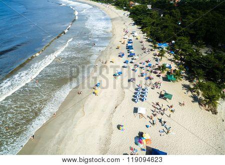 Aerial View of Sao Sebastiao Beach, Sao Paulo, Brazil
