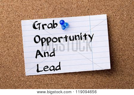 Grab Opportunity And Lead Goal - Teared Note Paper Pinned On Bulletin Board