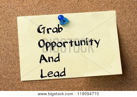 Grab Opportunity And Lead Goal - Adhesive Label Pinned On Bulletin Board