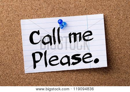 Call Me Please. - Teared Note Paper Pinned On Bulletin Board