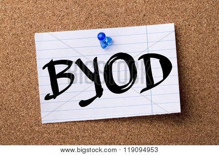 Byod - Teared Note Paper Pinned On Bulletin Board