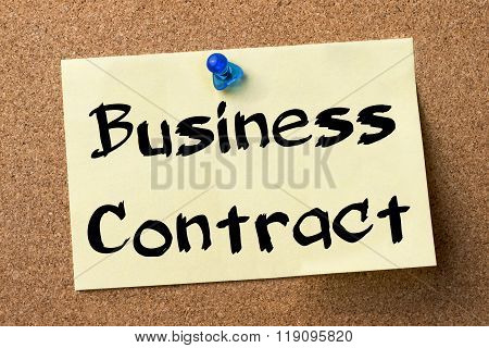 Business Contract - Adhesive Label Pinned On Bulletin Board
