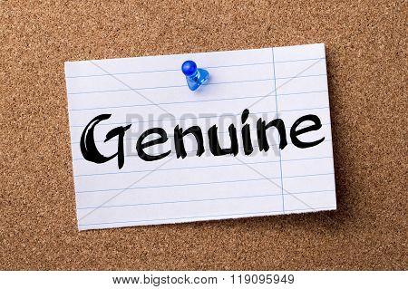 Genuine - Teared Note Paper Pinned On Bulletin Board