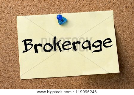 Brokerage - Adhesive Label Pinned On Bulletin Board