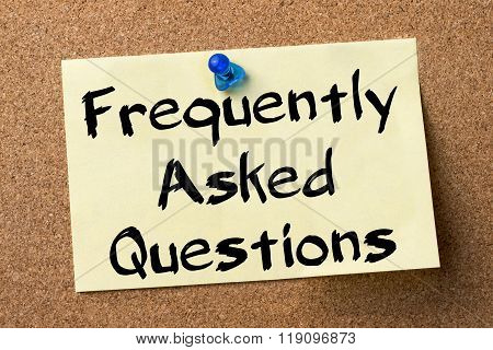 Frequently Asked Questions - Adhesive Label Pinned On Bulletin Board