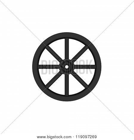 Vintage wooden wheel in black design