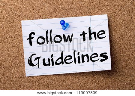 Follow The Guidelines - Teared Note Paper Pinned On Bulletin Board