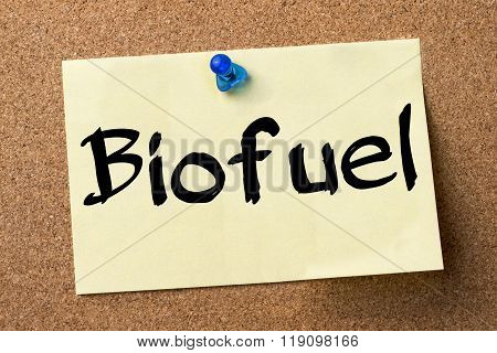 Biofuel - Adhesive Label Pinned On Bulletin Board